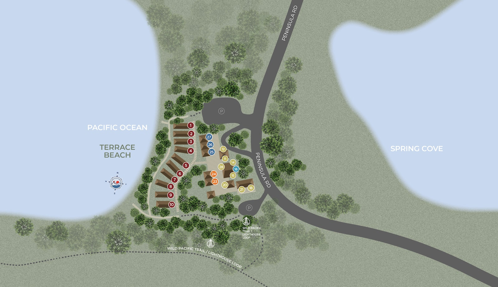 terrace beach aerial map